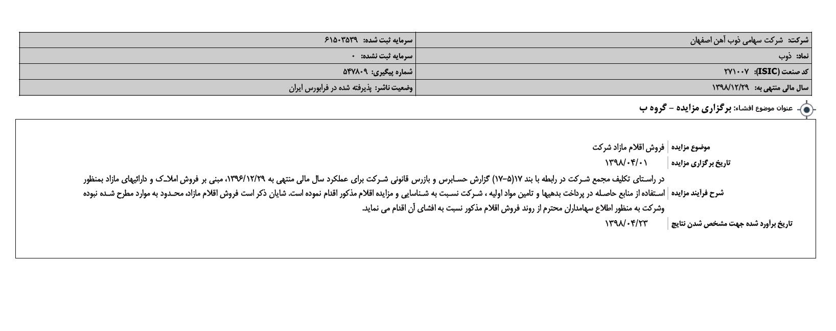 ذوب آهن اصفهان مزایده برگزار می کند