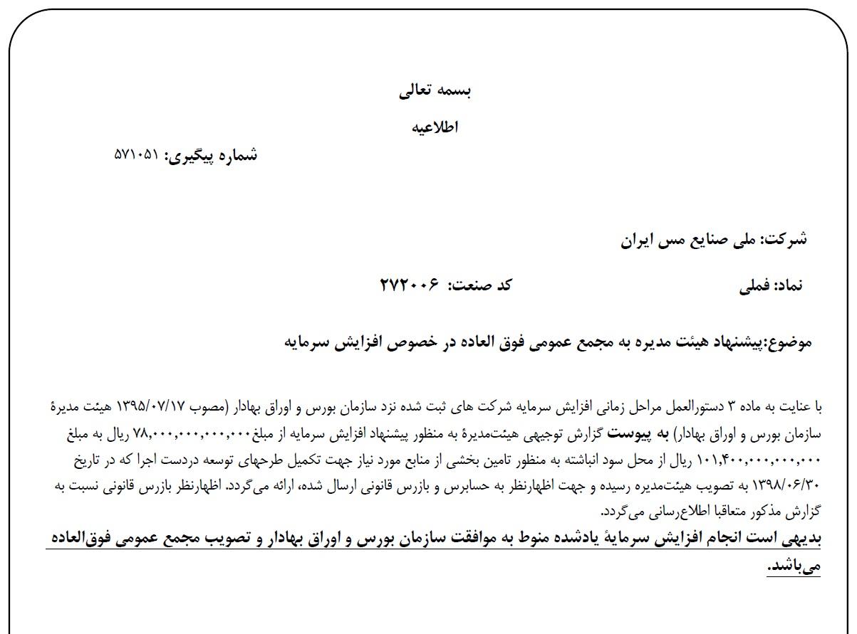 شرکت ملی صنایع مس ایران به دنبال افزایش 30 درصدی سرمایه