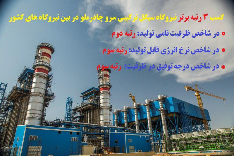 نیروگاه سیکل ترکیبی سرو چادرملو در اردکان یزد در ردیف 3 نیروگاه برتر کشور قرار گرفت
