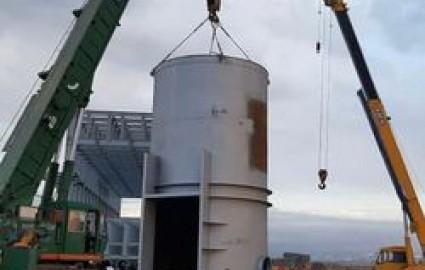 نصب سازه فوق سنگین 52 متری کارخانه فولاد تربت حیدریه